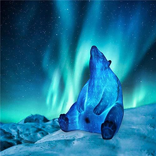 QAQ Sterrenhemel Leuke Polar Beer 3D Printing Led Lamp Nachtlampjes Pla 16 Kleuren Afstandsbediening Verlichting USB Opladen Geschenken Home Decor