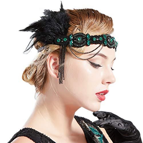 ArtiDeco Vintage des années 1920 bandeau perlé bandeau des années 1920 bandeau de plume avec accessoires de Costume de cristal Great Gatsby rugissant accessoires des années 20 (vert foncé)