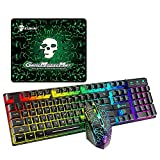 Verilux® Gaming Mouse, RGB Multi-Colour 3200DPI Wired Silent Mice Computer Accessories, for Home Office Games 6 Buttons Multiple Functions (Gaming Keyboard Mouse Pad Set)