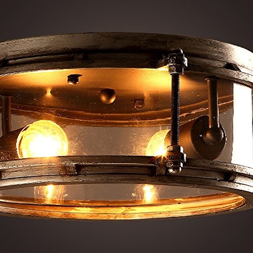 &qq Fer industriel air rétro personnalité créatrice xuanguan balcon salon chambre verre plafonnier