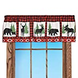 Collections Etc Northwood's Checkered Window Valance Features Bears, Deer and Moose with Rod Pocket on Top for Easy Hanging and Aztec Print on Border