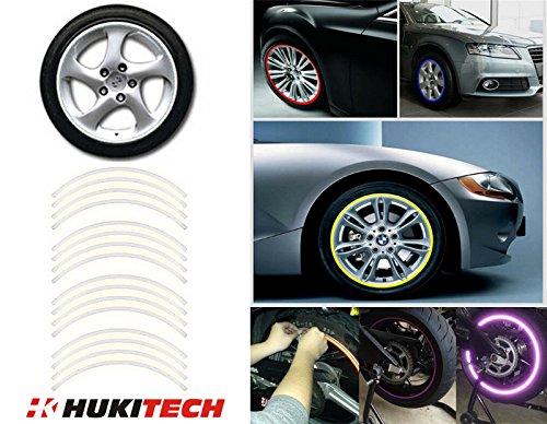 HUKITECH velgenstickers in HK-design, geschikt voor velgen van 16, 17, 18, 19 inch voor motorfiets, auto of fiets, MTB, downhill, freeride, dirt, fully, hardtail - reflecterend - zilver