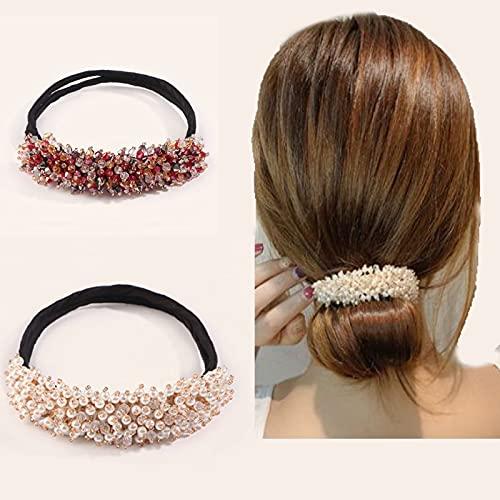 ACBP Fabricante de bollos de diamantes de imitación fácil, fabricante de moño de donut, accesorios para moños de pelo, herramienta de peinado para mujeres y niñas (rojo y blanco)