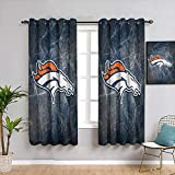 Elxmzwlob American Tootball Team Blackout Curtains for Bedroom Denv-er Bron-cos Customized Chid Curtains Resistant Polyester Fabric Blackout Window Curtain, W42 x L72, 2 Panels