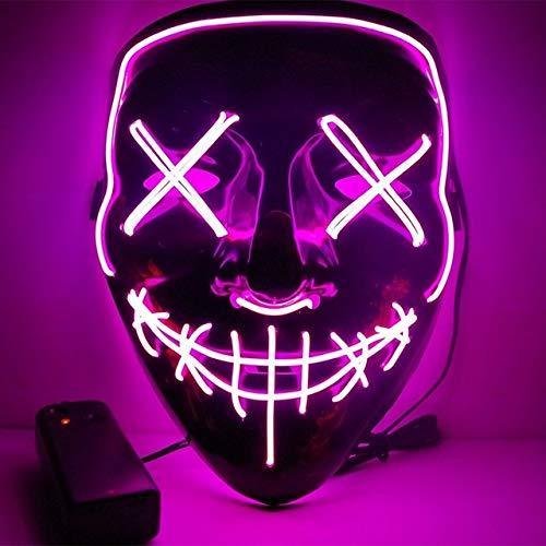 BFMBCHDJ Halloween neon led maske party kostüm purge maske wahl cosplay kostüm führt dj party im dunkeln leuchten a15 one size
