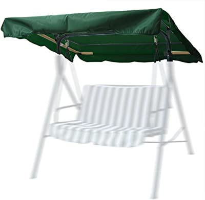 """Flexzion Swing Canopy Cover (Green) 77""""x43"""" - Deluxe Polyester Top Replacement UV Block Sun Shade Waterproof Decor for Outdoor Garden Patio Yard Park Porch Seat Furniture"""