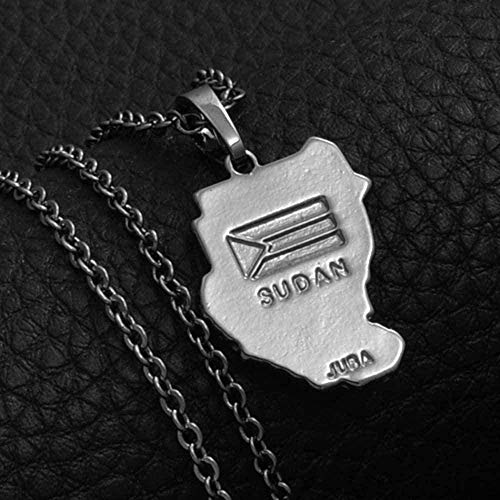 Yiffshunl Necklace Women Original Necklace Ancient Map of Sudan Necklaces Pendants Black Gun Map of Sudan Juba African Jewelry Necklace Gift
