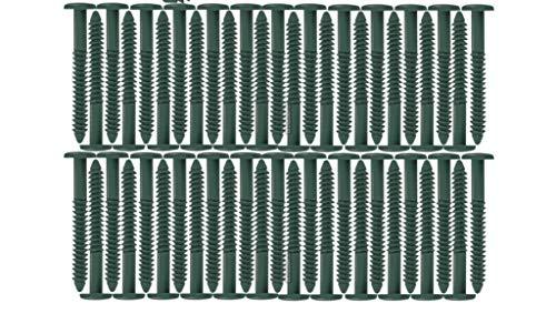 Window Shutters Panel Peg Lok Pin Screws Spikes 3 inch 60 Pack (Forest Green) Exterior Vinyl Shutter Hardware Strongest Made in USA
