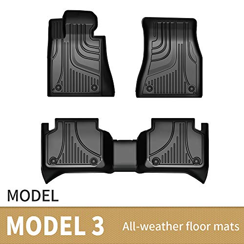 JXAUTO Floor Mats Liners TPE All-Weather Guard Compatible for 2016 2017 2018 2019 2020 2021 Tesla Model 3, Heavy Duty 1st & 2nd Row Full Set Liners