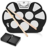 Pyle Electronic Roll Up MIDI Drum Kit - W/ 9 Electric Drum Pads, Foot Pedals,...