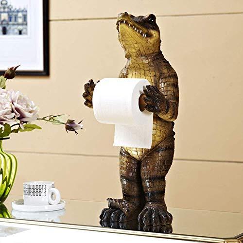 LXYZ Soporte de Papel higiénico, Animal Creativo cocodrilo Caja de Toalla de baño Toallero de baño Soporte de Papel de perforación Libre Bandeja de Sala de Estar