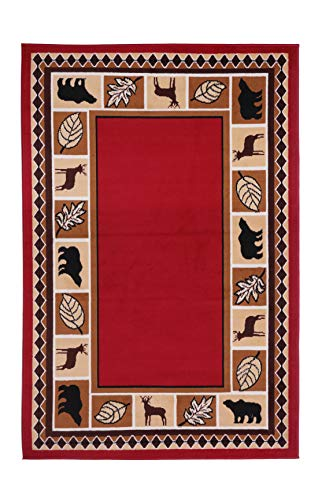 RUGS HOME Furnish My Place Wildlife Bear Moose Rustic, Cabin Lodge Carpet Area Rug, Dark Red