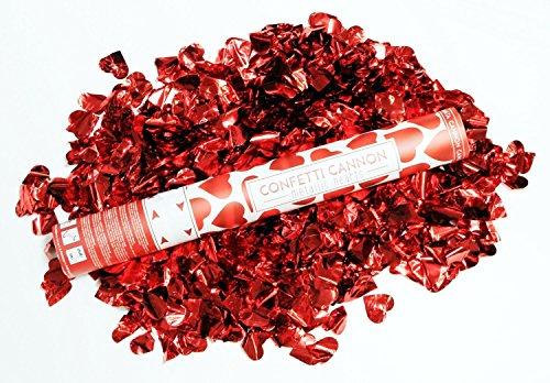 4x Konfetti mit roten Herzen; Konfettikanone; Konfettibombe: 40cm per Druckluft bis 7m, rosenrot rote Herzen für Hochzeit, Standesamt, Party ...