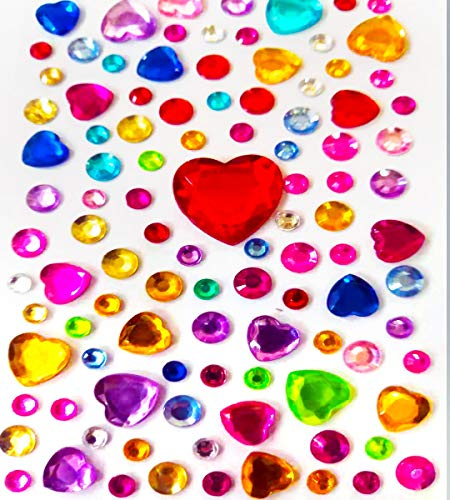 PXS Crystal Gem Rhinestone Stickers Self-Adhesive Sticker Assorted Size(Multicolor) for Jewels Craft Gems DIY Decorations (1130)