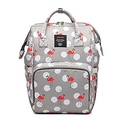 Starte Baby Diaper Bag for Mom/Dad,Flamingo Bag for Women Waterproof Travel Backpack,Spacious Tote Shoulder Bag Organizer,Grey, Middle