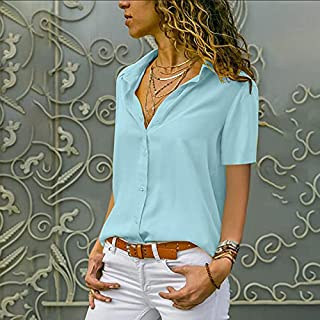 Leepesx New Casual Women Loose Shirt Blouse Front Buttons Turn-down Collar Short Sleeve Solid Color Plus Size Tees