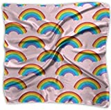 Schaf Regenbogen-Muster Design Taschentuch Polyester quadratisch Mehrzweck Seide Bandanas zarter Druck Gr. M (100x100 cm), weiß