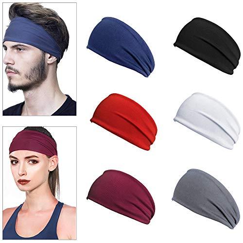 Gwolf Sport Stirnband für Damen Herren, 6 Stück Elastisches Stirnband, Schweißband Stirn, Frauen Herren Jogging Wicking Haarband, Stirnband Anti Rutsch, Haarband Sport...