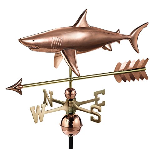 Good Directions Shark with Arrow Weathervane - Pure Copper
