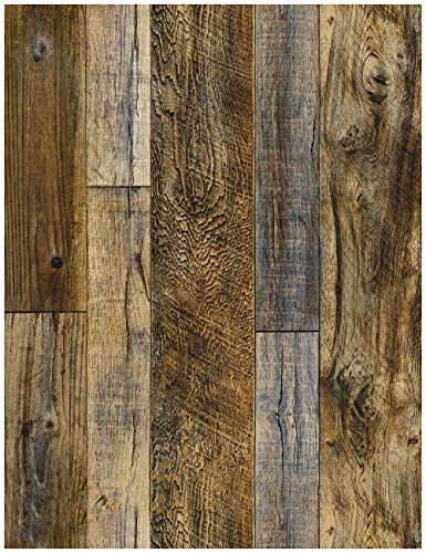 HaokHome 92048-2 Peel and Stick Wood Plank Wallpaper Shiplap 17.7in x 9.8ft Brown Vinyl Self Adhesive Decorative