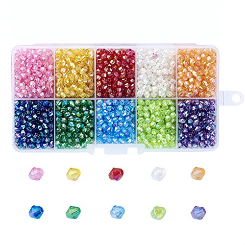 Pandahall 10 Colors Transparent AB Color Plated Acrylic Beads 4x4mm Faceted Bicone Spacer Loose Beads About 2500pcs/box