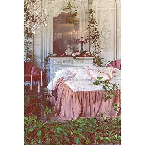 Sprei voor tweepersoonsbed met gale, stof Toile de Jouy, Shabby Chic, Boutis Provence, beddengoed