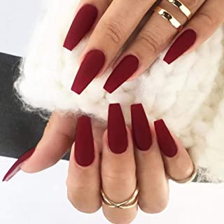 Barode Fake Nails Matte Wine Red Full Cover Acrylic False Nails Coffin Shape Punk Fashion Party Clip on Nails for Women and Girls(24Pcs)