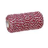 92m Schnur aus Baumwolle, 1,5mm dick, rot – weiß gestreift