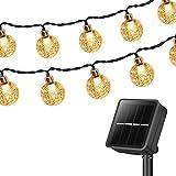 Solar Lichterkette Außen, 15M 100 LEDs Kristall Kugeln, Wasserdicht mit 8 Leuchtmodis Lichterkette für Balkon, Gartendeko, Bäume, Terrasse, Hochzeiten, Weihnachtsbeleuchtung (Warmweiß)