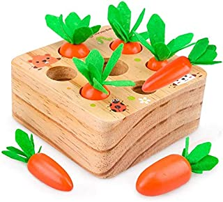Educational Toys for 1-3 Year Old Baby Toddlers Wooden Carrots Play Toys for Baby Birthday Gifts
