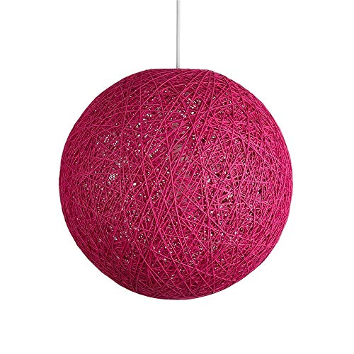 Huahan Haituo Moderne Schwarz Gitter Wicker Rattan Globus Ball Stil Decke Pendelleuchte Lampenschirm Home Esszimmer Dekoration Lampen (Rose Rot, 23cm)