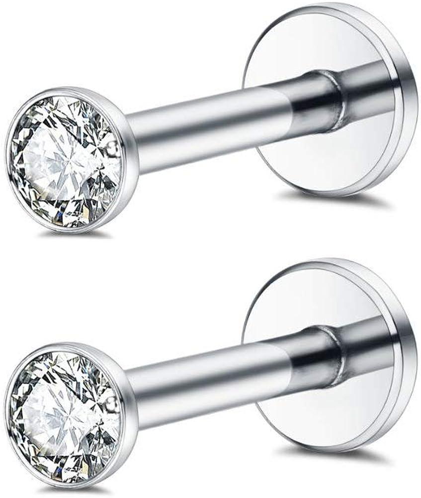 Changgaijewelry 16g Surgical Steel Internally Threaded Micro CZ Gem Top Tragus/Helix/Labret Stud 1 Pair 3mm (3mm)