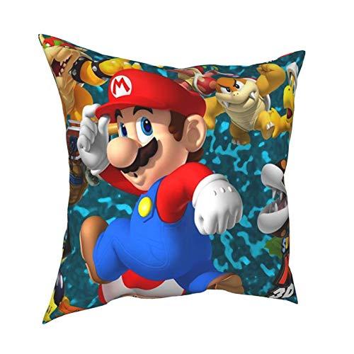 Super-Mario-Bros - Funda de almohada cuadrada decorativa de doble cara con impresión de sofá, fundas de almohada de 45,7 x 45,7 cm