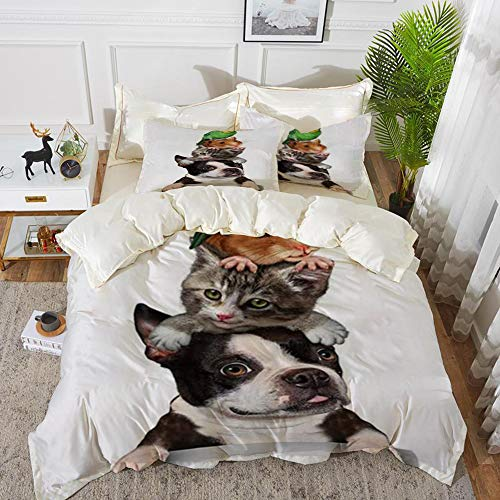 Duvet Cover Set, Bed Sheets, Animal pet Lover with Dog cat Hamster and Parrot,Microfibre Duvet Cover Set 240 x 260 cmwith 2 Pillowcase 50 X 80cm