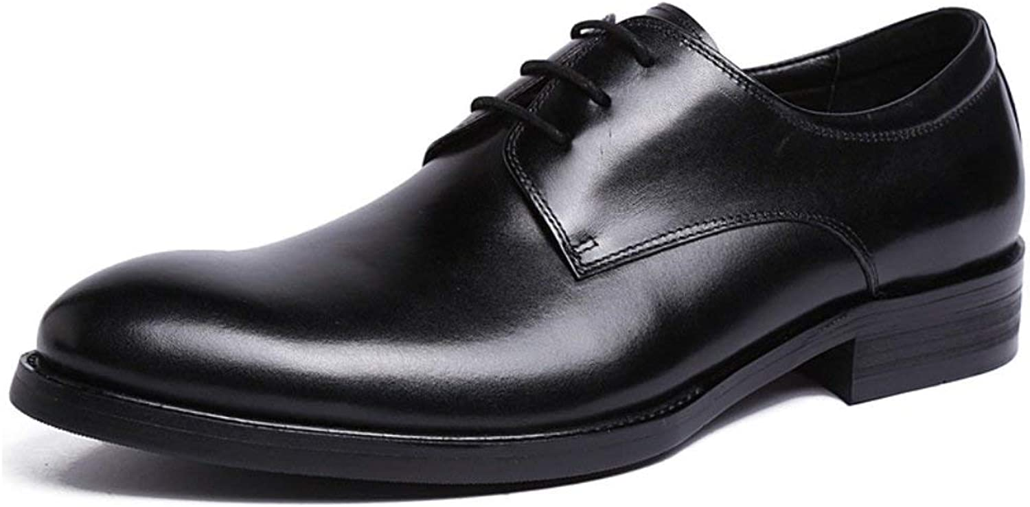 MON5F HOME Men's Genuine Leather Leather shoes Men's Dress shoes Pure Leather Classic Wedding shoes Handmade Cattle Leather shoes (color   Black, Size   43)