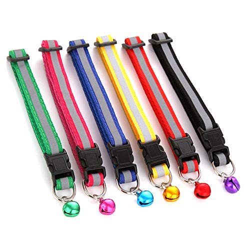 Xinlie Halsband Katzen Sicherheitsverschluss Reflektierendes Katzenhalsband, mit Glöckchen, Schnallenverschluss, Verstellbar 19–32 cm (6 Stück)