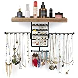 Jewelry Organizer Wall Mounted Rotating Jewelry Holder Hanging Storage Display for Necklaces Bracelet Earring Ring (Carbonized Black)