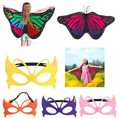 Supercat Kinder Schmetterling Flügel Fee Schmetterling Umhang Kostüme Schmetterling Schal und Maske Kostüm Poncho Pixie für Jungen Mädchen Prinzessin Kostüm Kostüm 2 Stück