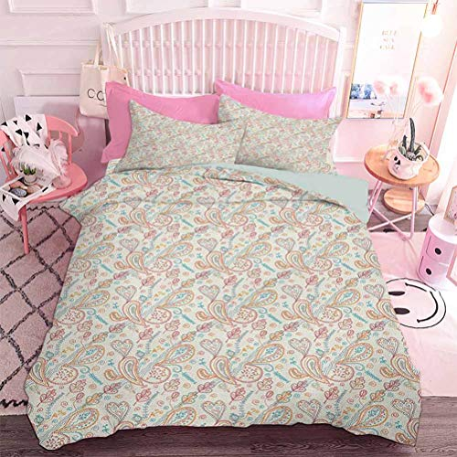 Hiiiman Lightweight Comforter Set for All Season Romantic Oriental Paisley and Heart Motifs with Floral Inspirations Line Art Design (3pcs, Oversized King Size) Pillow case