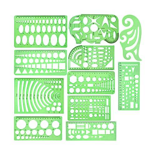 Katigan 11 Piezas Plantillas de Dibujos GeoméTricos PláStico Transparente Verde Reglas de PláStico con 1 Paquete de Sobres de Cremallera de Polietileno para Estudiar, DiseeAr y Construir