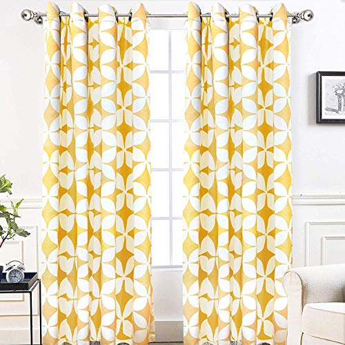 DriftAway Amelia Thermal Blackout Room Darkening Grommet Window Curtains Retro Geo Pattern Round Circle Star Print Set of 2 Panels Each 52 Inch by 84 Inch Yellow