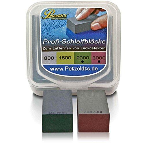 Petzoldt's Nass-Schleifblock Set mit Körnung 2000 und 3000, bearbeiten Sie Staubeinschlüsse, Lackläufer, Beispritzränder o. ausgetupfte Steinschläge