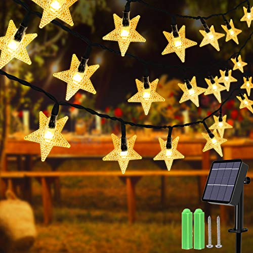 Solar String Lights,40ft 100 LED Solar Star String Lights Outdoor Solar Powered Star Fairy Lights Waterproof 8Modes Decorative Light for Garden Patio Yard Home Wedding Party Festival (Warm White)