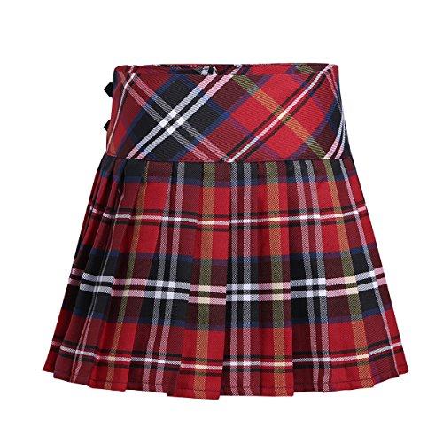 iiniim Falda Niña Ropa Verano Escocesas Cuadros Escocia Falda Plisada Básica con Hebilla Uniforme Escolar Algodón Tartán para Niñas Chicas 3 a 14 Años Rojo 8 años