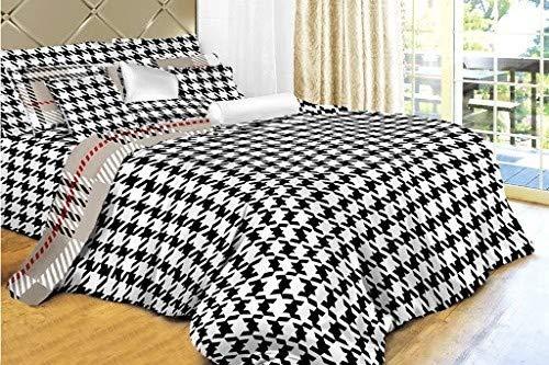 Dolce Mela DM498K 6-Piece Check Bedding Duvet Cover Set, King, Houndstooth, Off-White