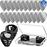 20 Pieces Metal Guitar Picks Plectrums Stainless Steel Picks Guitar Pick Holder Black With Picks Storage Case for Electric Guitar Bass Ukulele