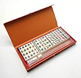 Mini Mahjong with Long Box Traditional Beige Color Chinese Mah Jong Set for Home or Travel Mahjong Set Family Game Party Friends Gathering Game Table Game Board Game