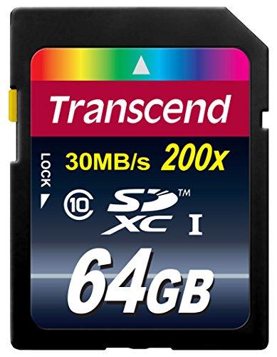 Transcend Premium - Tarjeta de Memoria Flash 64GB SDXC Clase 10 de Ultra Alta Velocidad, MLC