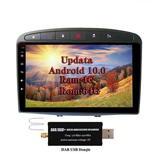 XISEDO Android 9.0 Indash Autoradio 8-Core RAM 4G ROM 64G 9' Car Stereo Navigazione GPS per Peugeot 308 (2008-2010) Car Radio Supporto Control Del Volante, Bluetooth, RDS (con DAB Dongle)