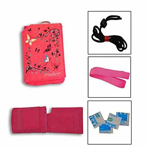 Insulinpumpe Universal Tasche Value Pack -Rosa Schmetterlings